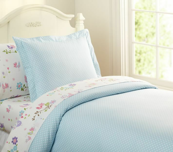 New Pottery Barn Kids 2pcs Set Mini Dot Duvet Cover