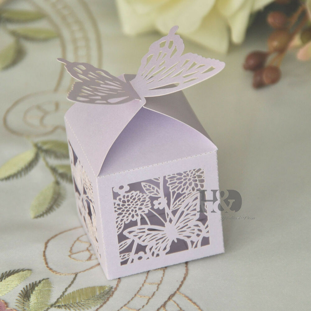 36pcs lilac butterfly laser cut candy gift boxes with for Wedding favor supplies