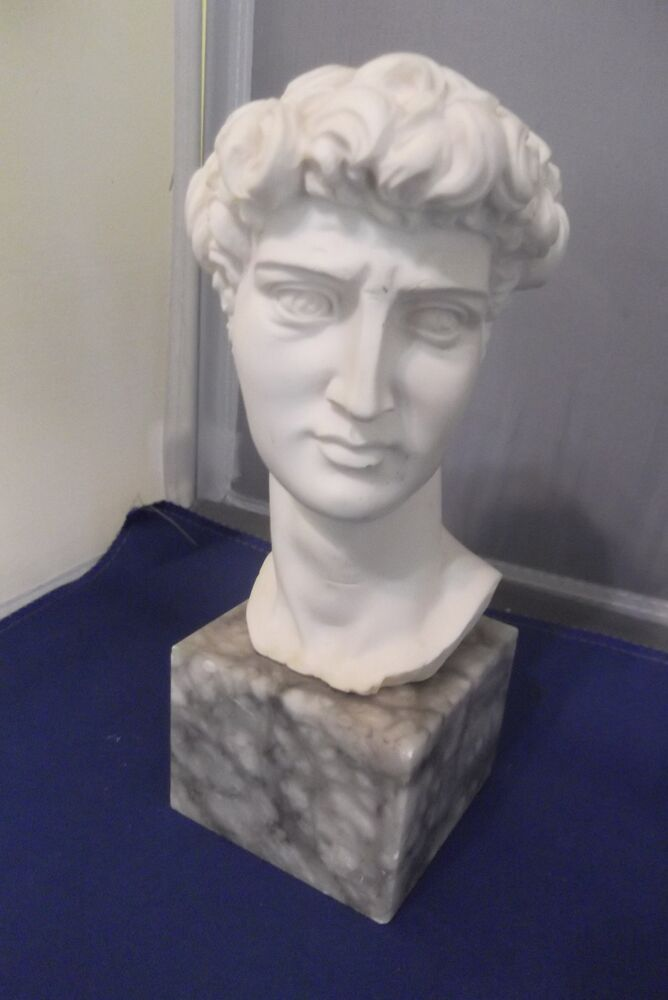 Vintage Sculpture Bust Of David Ceramic On Marble Base