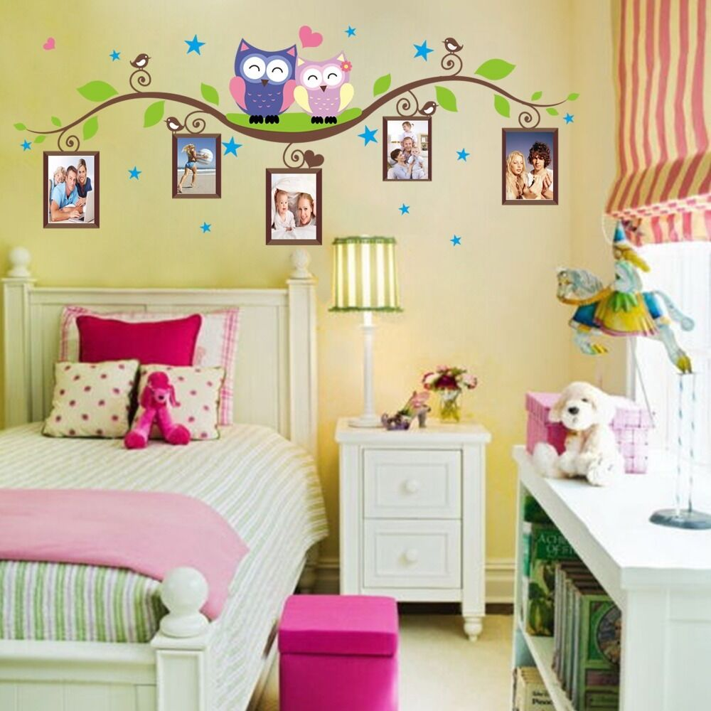 Owls on branch photo frame wall decal sticker vinyl mural for Baby nursery mural