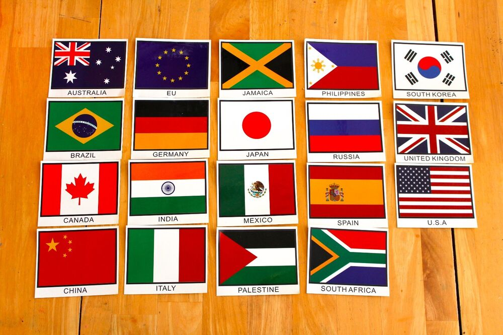Decorative Country Flag Stickers Various Packs Request