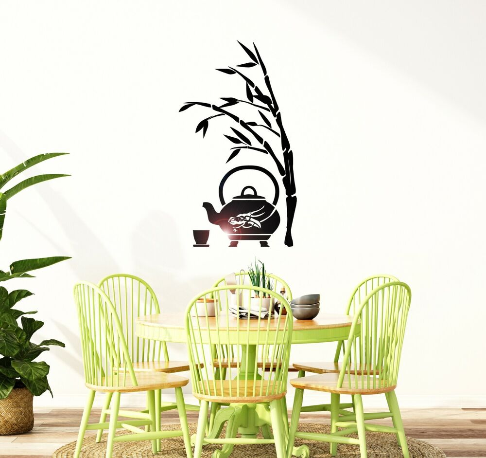 wall decal reed tea japan japanese oriental decor vinyl stickers ig2994 ebay. Black Bedroom Furniture Sets. Home Design Ideas