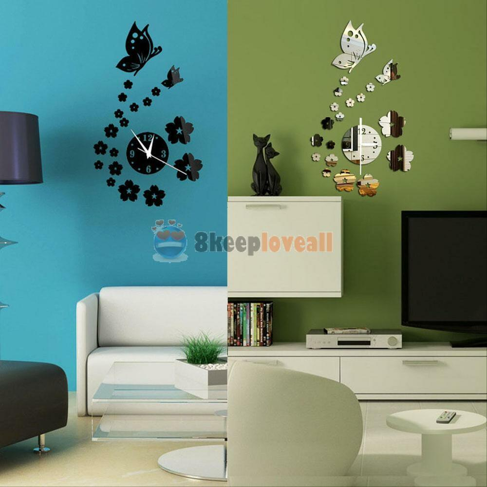 Modern 3d butterfly flower diy wall sticker mirror clock for Modern living room wall decor
