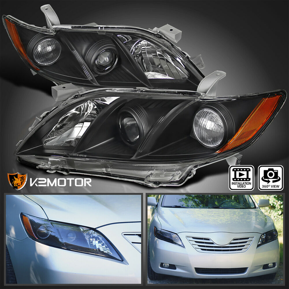 toyota 2007 2009 camry crystal black jdm amber projector headlights pair ebay. Black Bedroom Furniture Sets. Home Design Ideas