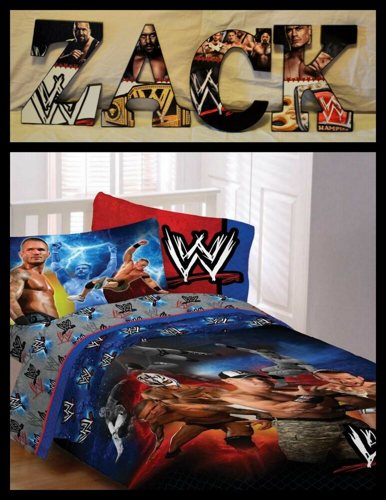 Wwe 9 childrens wooden letters decor i can do any theme for Wwe bathroom decor