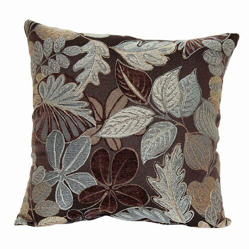 Throw Couch Pillow Decorative Jacquard Brown w Blue Taupe Leaf Florals 16 x 16