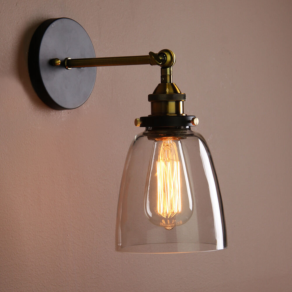Old Fashioned Wall Lamp Shades : Vintage Industrial Country Style Wall Sconce Light Wall Lamp With Glass Shade eBay