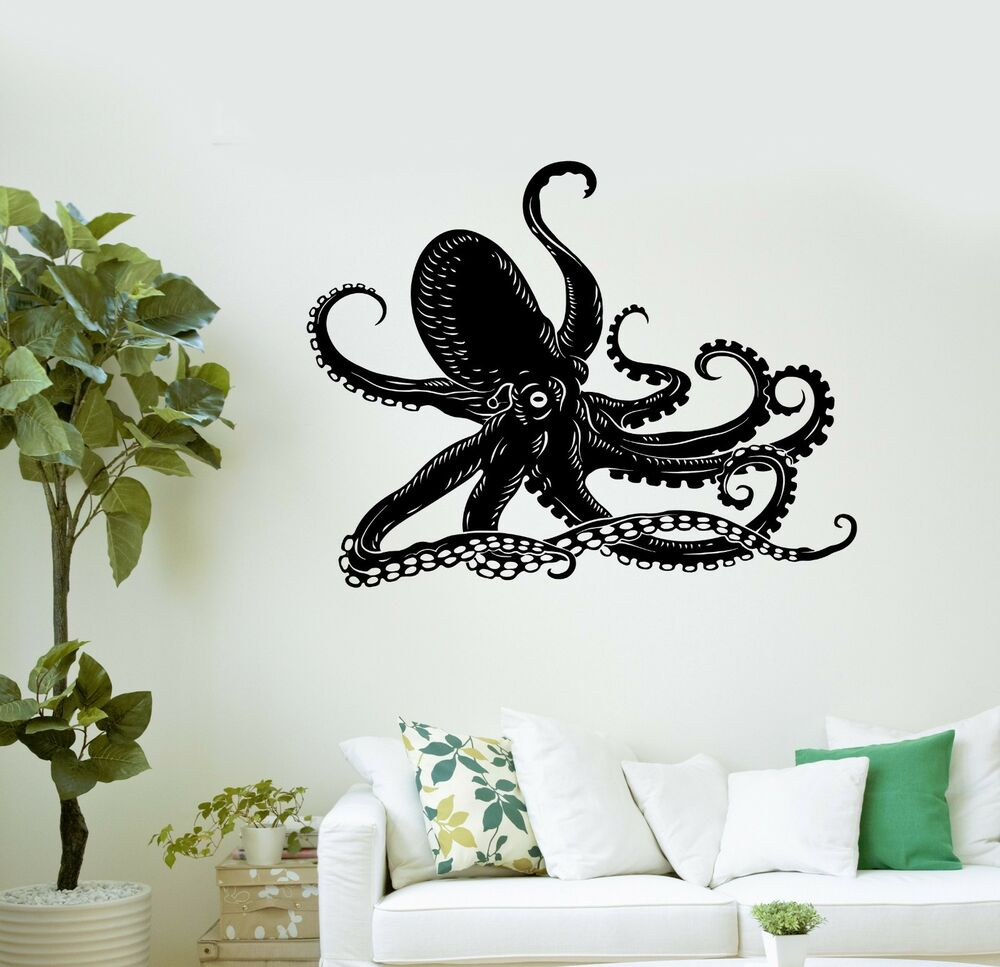 wall decal octopus kraken marine animals bathroom art vinyl stickers ig3005 ebay. Black Bedroom Furniture Sets. Home Design Ideas