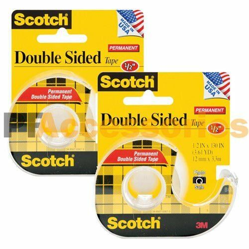 2x 3m scotch double sided tape 1 2 x 130 photo safe w. Black Bedroom Furniture Sets. Home Design Ideas