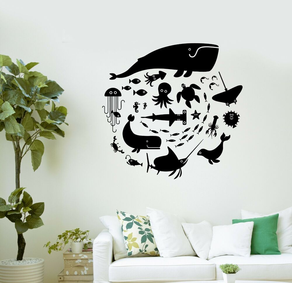 wall decal whale octopus fish marine animals bathroom vinyl stickers ig3008 ebay. Black Bedroom Furniture Sets. Home Design Ideas