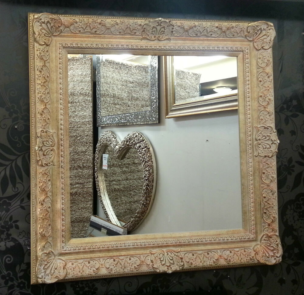 Antique cream gold ornate vintage design french wall for Antique wall mirrors