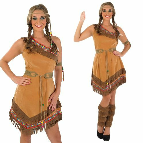 damen indianer squaw pocahontas kost m kleid outfit 8 26. Black Bedroom Furniture Sets. Home Design Ideas