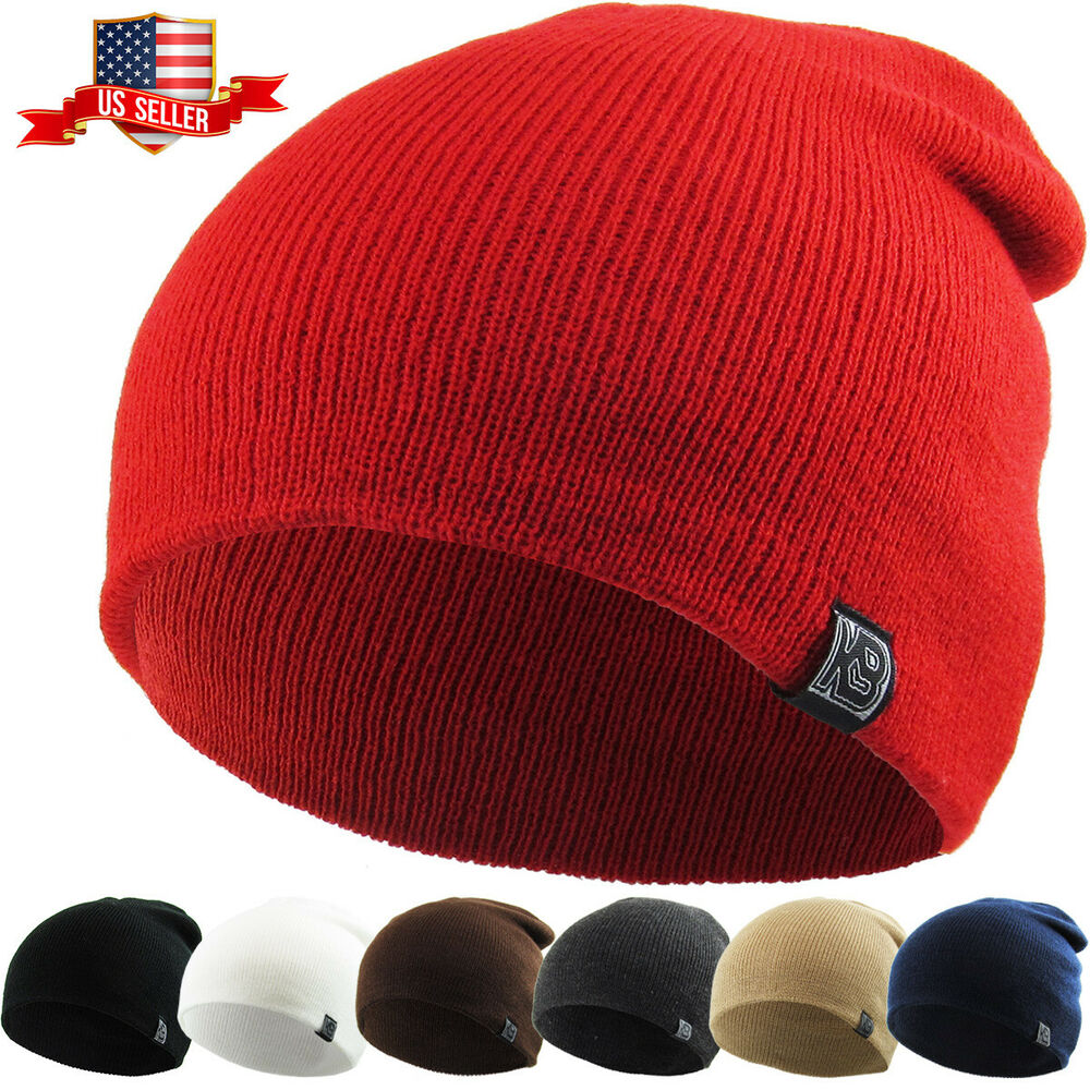 plain beanie knit ski cap skull hat warm solid cool winter
