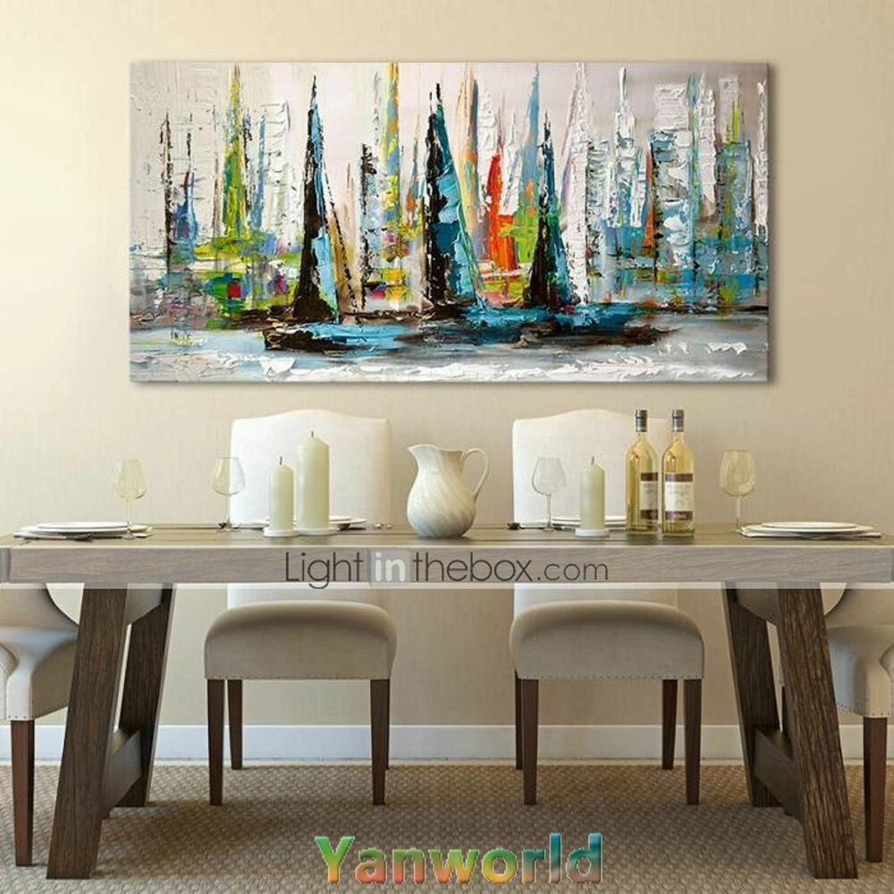 not framed oil painting on canvas art large abstract sailboat wall decor modern ebay. Black Bedroom Furniture Sets. Home Design Ideas