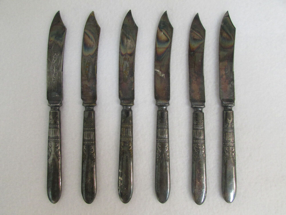 Butter Knife Knives Silver Set Of 6 Signed 1847 Rogers