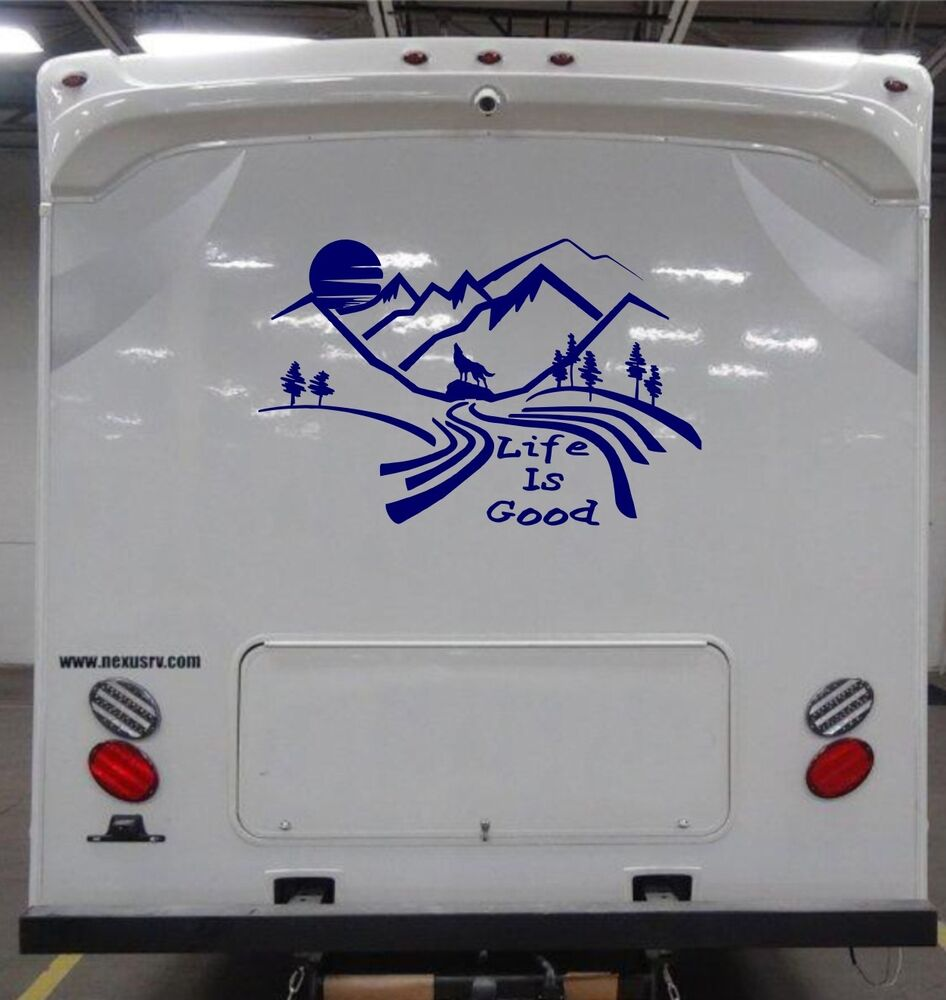 Custom made mountain moon scene decal for rv travel for Decals for rv mural