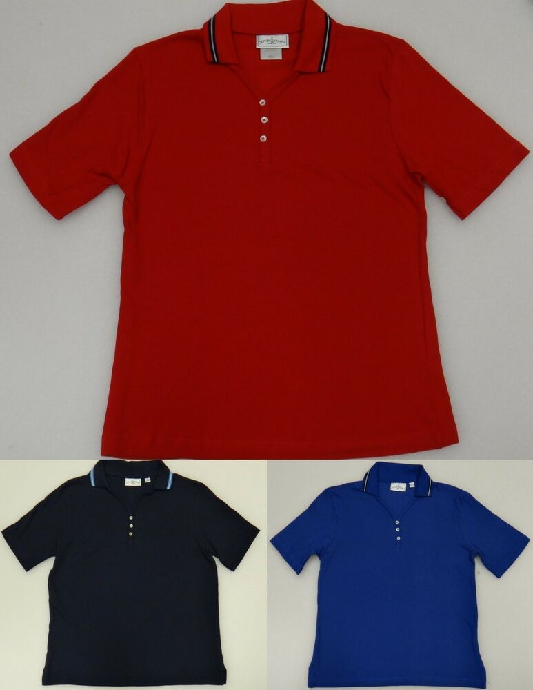 Outer banks women 39 s v neck short sleeved polo shirt red for H m polo shirt womens