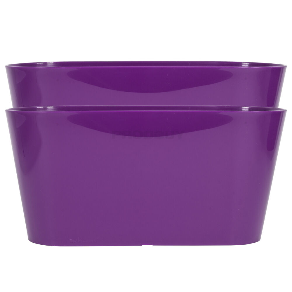 Set Of 2 Purple Oval Indoor Plant Pot Covers Planters Herb