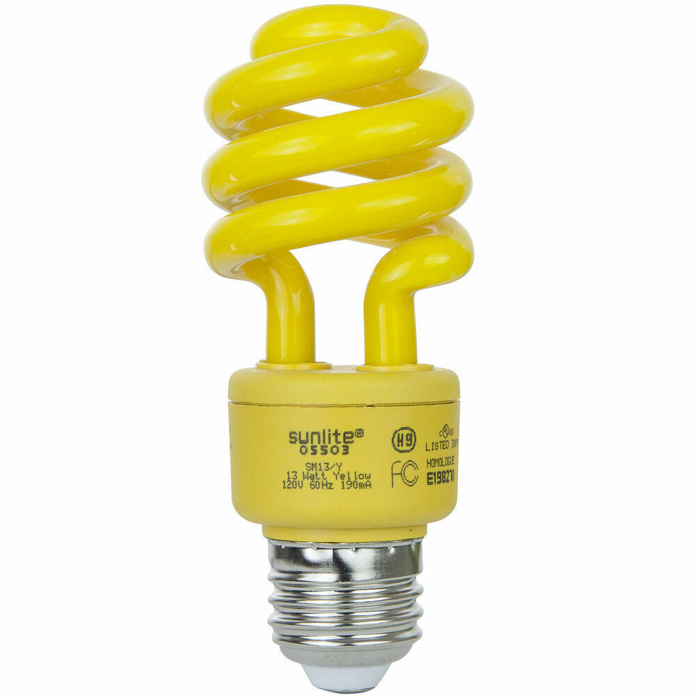 13 Watt Yellow Bug Light Spiral Cfl Bulb E26 Medium Base Free Shipping Us Ul Ebay