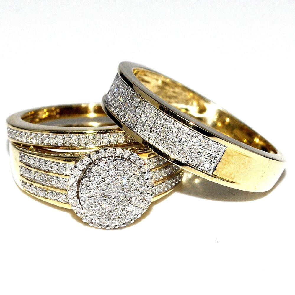 His and Her Bridal Rings Set Trio 0 73ct 10K Yellow Gold Halo Style Wedding R