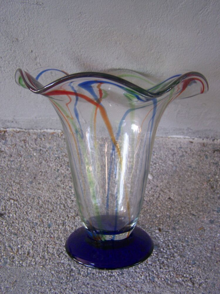 Hand Blown Glass Colorful Cobalt Blue Fiesta Vase Mexico Ebay