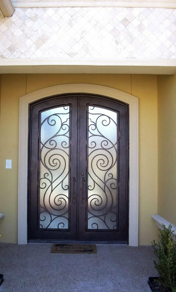 Hand Crafted 72 X 96 Wrought Iron Entry Doors 3 485 All In 12 Gauge Iron Ebay