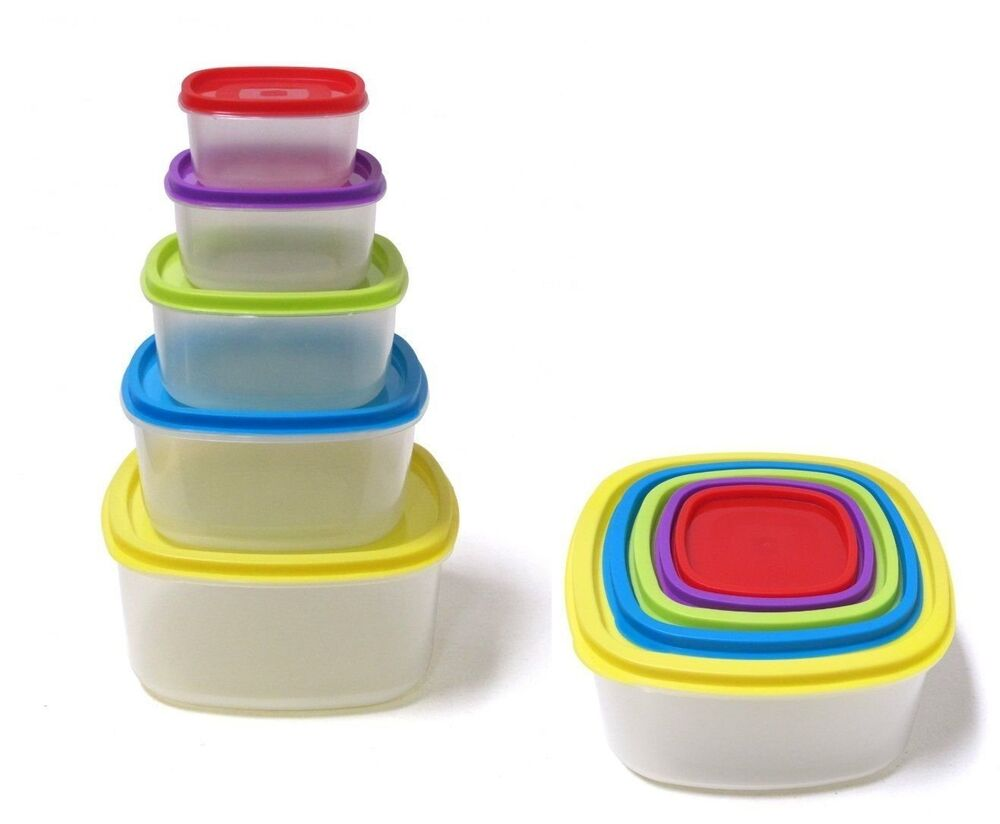 10 pcs always fresh plastic food storage containers set with color coded lids ebay. Black Bedroom Furniture Sets. Home Design Ideas
