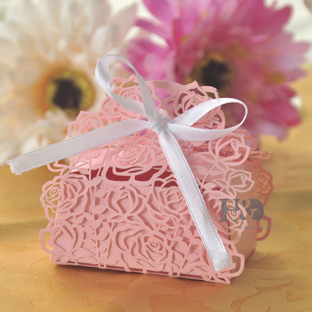 Gift Boxes For Weddings: Pink Rose Laser Cut Cake Candy Gift Boxes With Ribbon