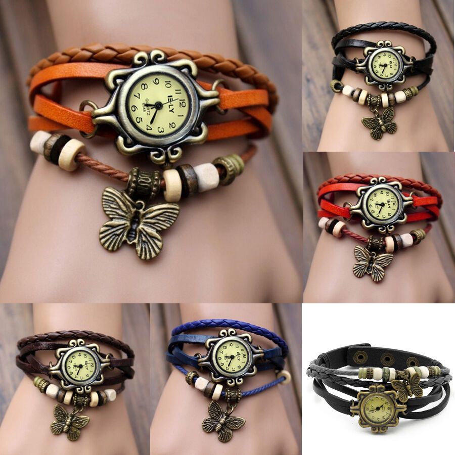 Charm Bracelet Watches: Women Vintage Charm Fashion Butterfly Bracelet Faux