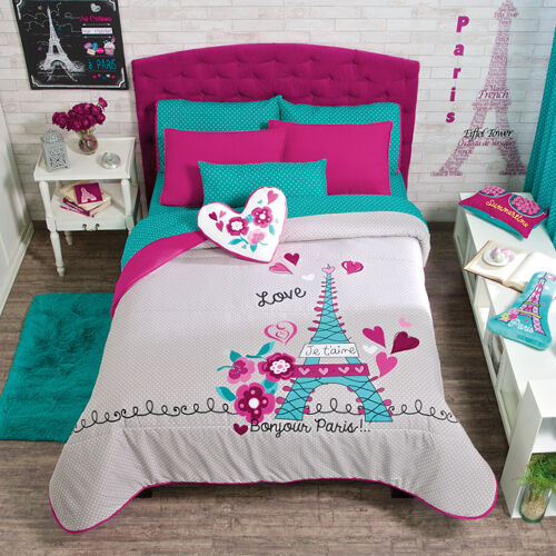new girls teens gray aqua pink eiffel tower paris comforter bedding set ebay. Black Bedroom Furniture Sets. Home Design Ideas