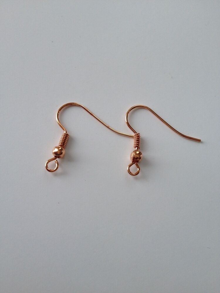 300 Pcs Rose Gold Coil Earring Hooks Wire Backing Jewelry