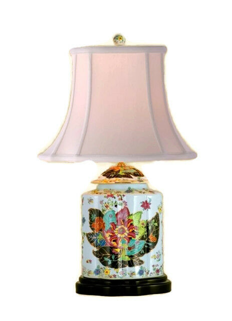 Beautiful Tobacco Leaf Porcelain Tea Jar Caddy Table Lamp