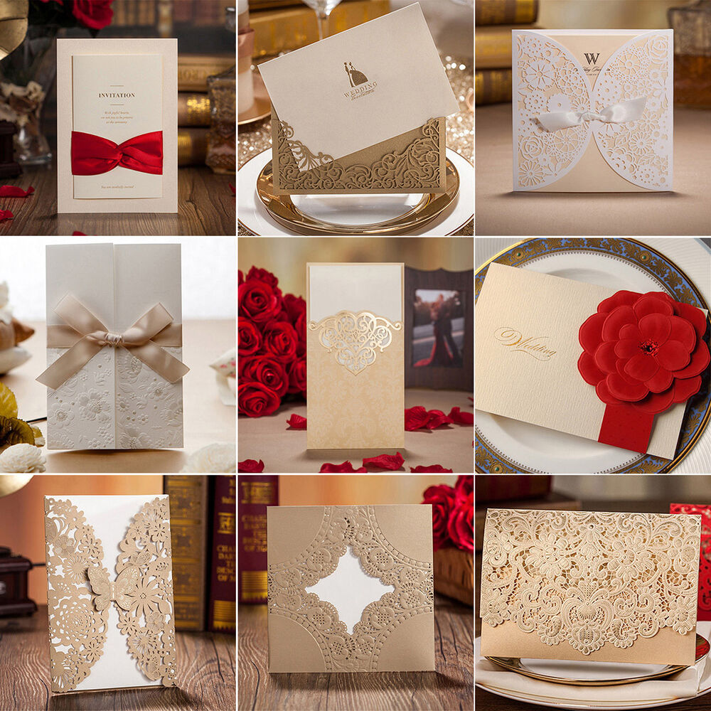 Gold Custom Personalized Printing Wedding Invitation Cards with ...