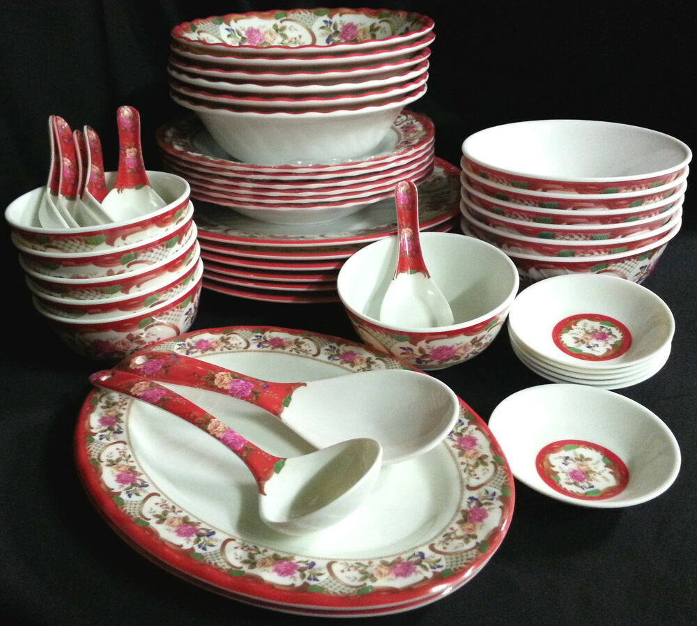 46 Piece Melamine Plastic Red Dinner Gift Set Serving Bowl