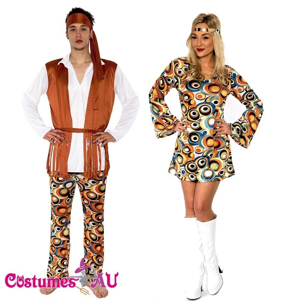 ladies mens 60s 70s retro hippie go go girl disco costume