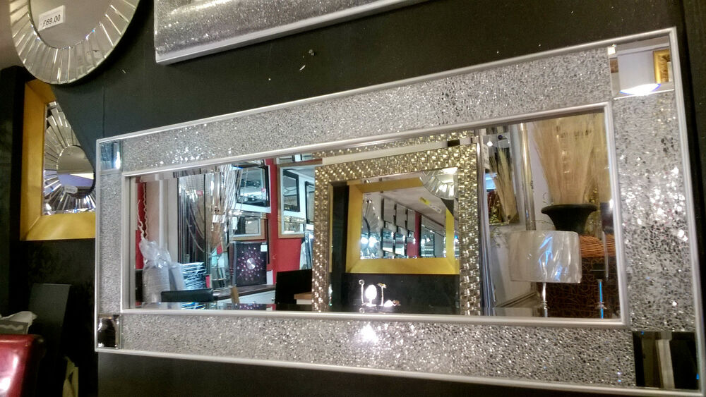 Crackle Mosaic Glass Silver Frame Wall Mirror Full Length