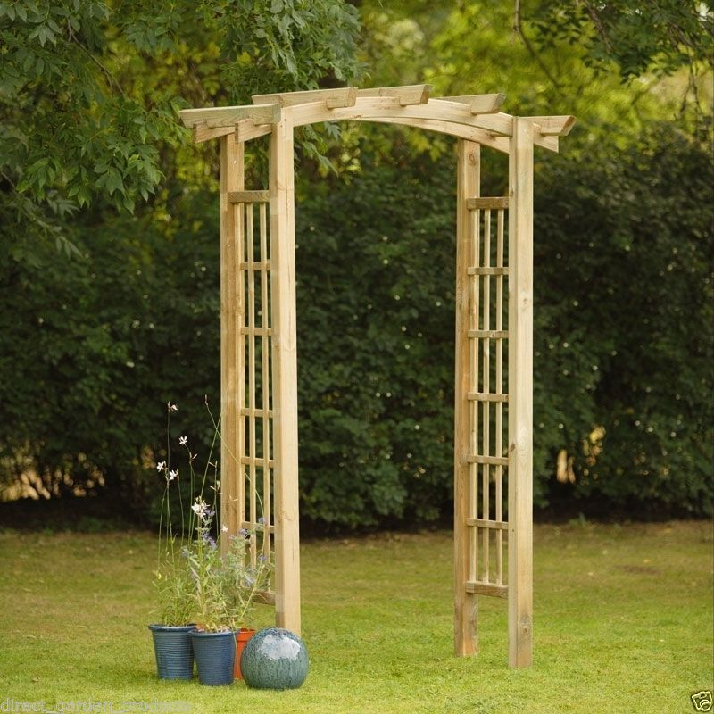 Wooden garden arch pressure treated outdoor timber pergola roof archway new ebay - Garden wood arches ...