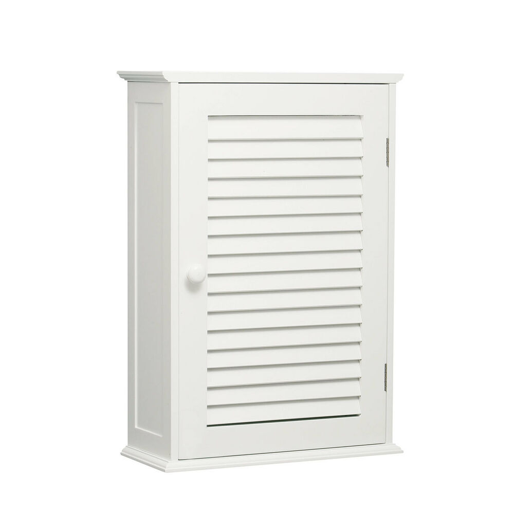 Single Door Shutter Two Shelf White Bathroom Wall Mounted Storage Cabinet Style Ebay