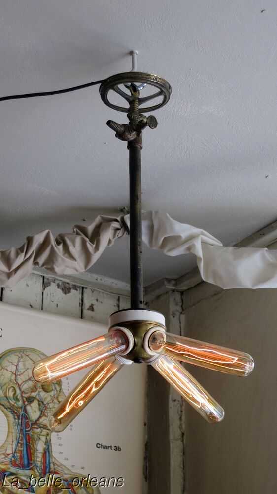 Antique custom made steampunk victorian ceiling light one of a kind l k ebay - Victorian ceiling fans with lights ...