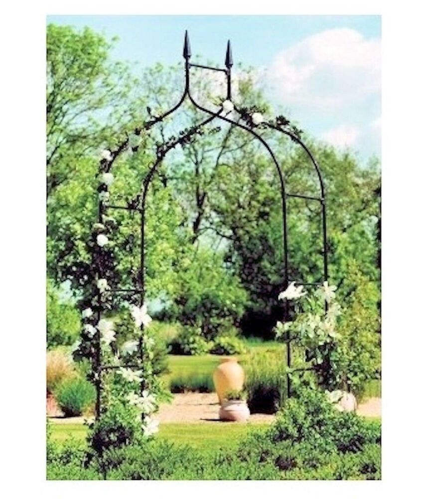 Arch trellis black yard garden patio backyard path archway for Garden archway designs