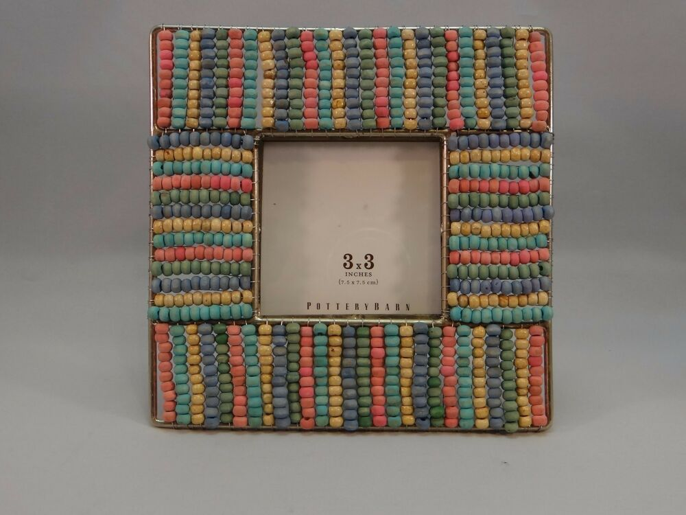 New Pottery Barn Warm Beaded Picture Frame 3 X 3 Multi