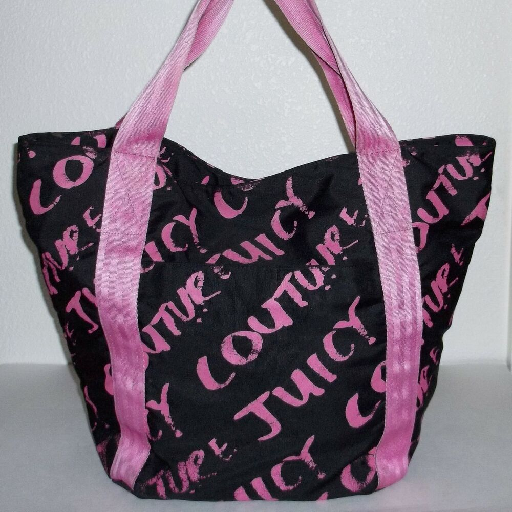 juicy couture large black pink tote bag big handbag purse ebay. Black Bedroom Furniture Sets. Home Design Ideas