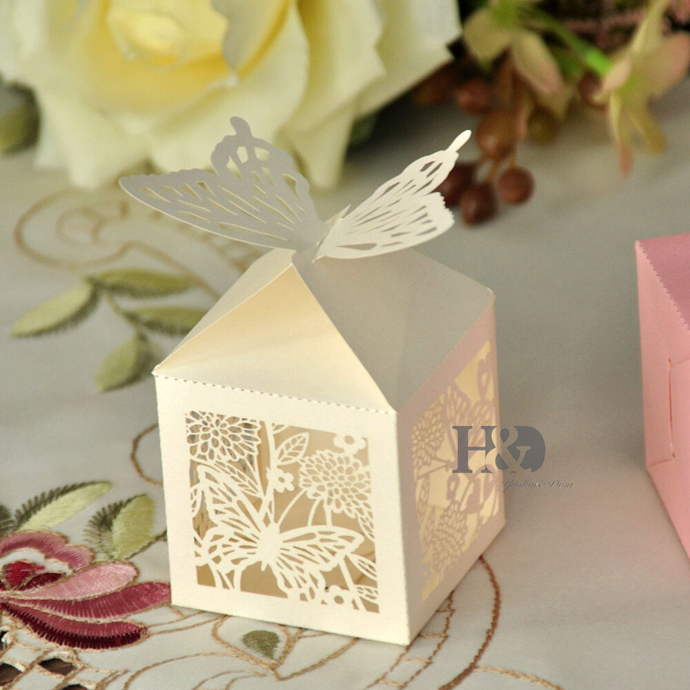 Wedding Favor Boxes: Ivory Laser Cut Butterfly Favor Candy Gift Boxes Wedding