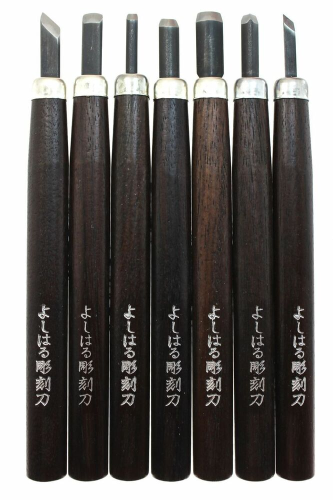 Suncraft 7pcs Yoshiharu Wood Carving Tool Kit U V Gouge Skewed Chisel ...