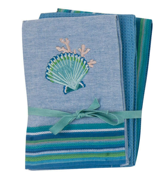 Kay dee coastal collection 3 pc tea towel set 16x26 Kay dee designs kitchen towels