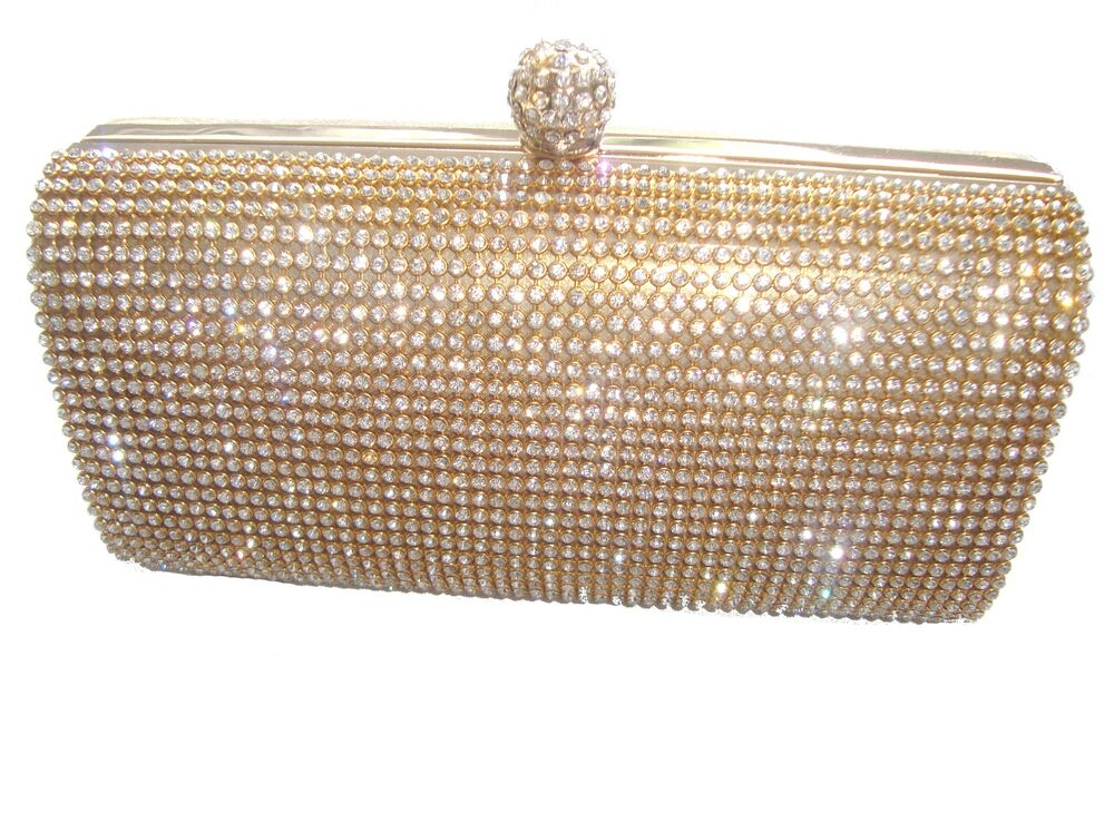 Gold Diamante Diamond Crystal Stone Evening Bag Clutch Purse Party Prom Wedding | EBay
