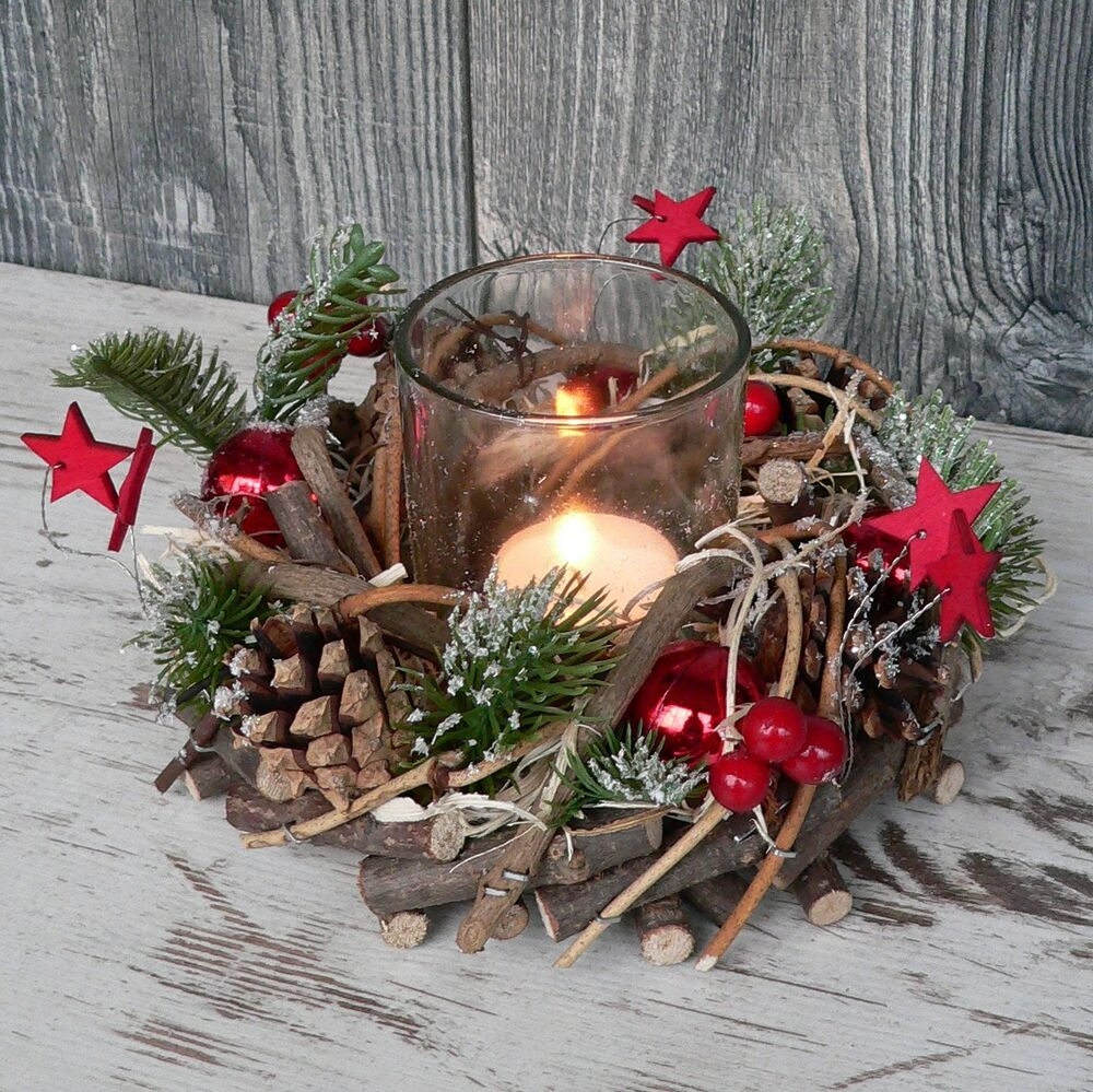 holzkranz mit deko windlicht advent adventskranz weihnachten holz glas rot gr n ebay. Black Bedroom Furniture Sets. Home Design Ideas