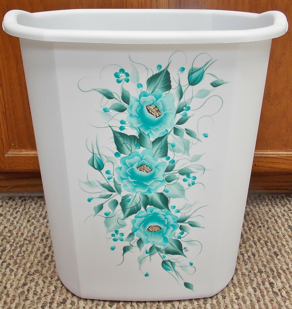 Hp roses shabby chic waste paper basket teal new color ebay - Shabby chic wastebasket ...