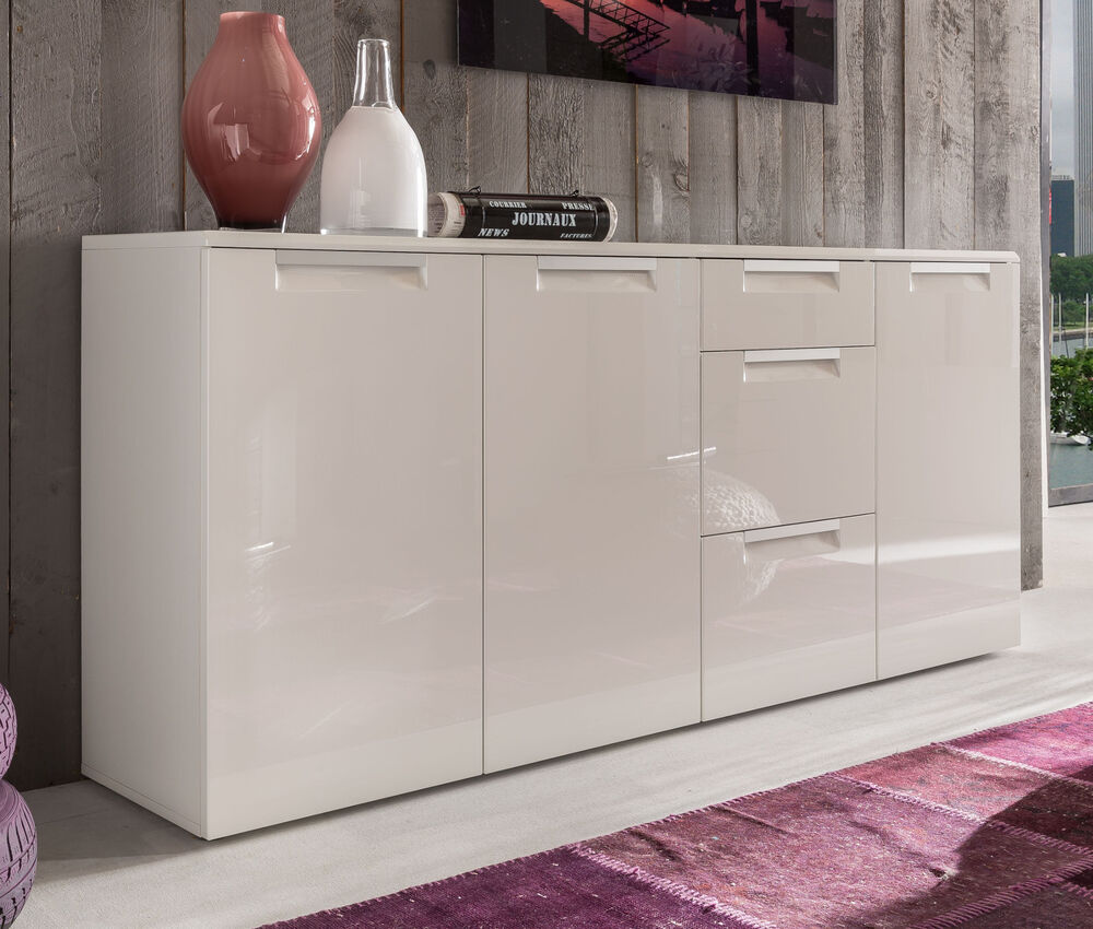 sideboard wei hochglanz kommode 180 cm wohnzimmer esszimmer anrichte alu line ebay. Black Bedroom Furniture Sets. Home Design Ideas