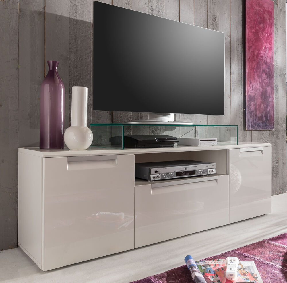 tv tisch lowoard wei hochglanz fernsehtisch tv hifi tisch bank 160 cm alu line ebay. Black Bedroom Furniture Sets. Home Design Ideas